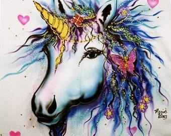 Unicorn bedding, unicorn art, custom tees, airbrush art, personalized tshirts, kids clothing, custom kids clothing