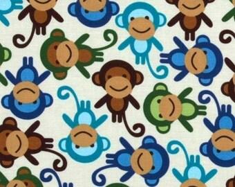 Urban Zoologie Monkeys Royal Blue. Robert Kaufman. Quality 100% Cotton Fabric