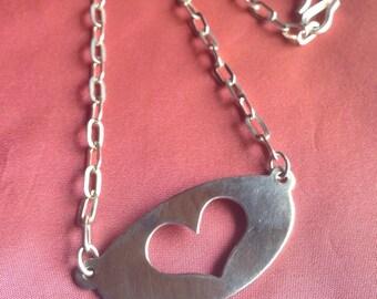 Silver Cut-Heart Vintage Necklace