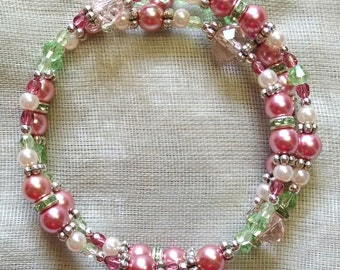 Pale Pink and Green Coil Bracelet