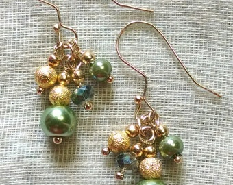 Green and Gold Hook Earrings