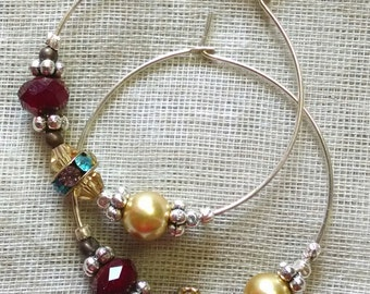 Jewel Tones Hoop Earrings