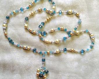 Ivory and Aqua Blue Necklace