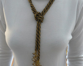 Hand Crocheted Beaded Lariat Necklace