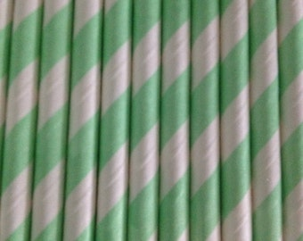 Mint Green and White Stripe Paper Straw (pack of 25)