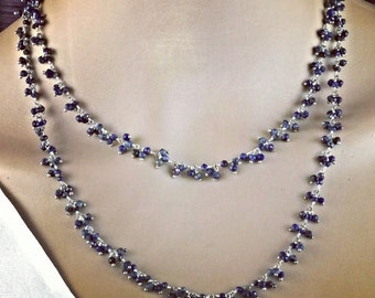 Delicate hand-made necklace with polished sapphires