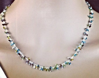 Delicate hand-made gemstone necklace 925 Silver 45 cm