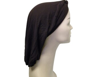 Classic Brown Snood Headcovering Solid Color Womens Tznius Headscarf Turban