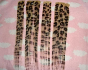 100% Human Hair Leopard or Zebra Print Clip In Extension