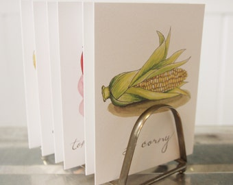 """Produce Print """"So Corny"""": Artisan Watercolor and Hand Lettered Note Card"""