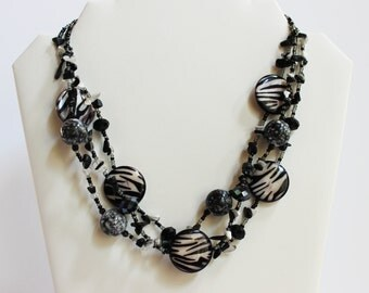 Zebra Print Statement Necklace