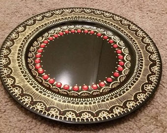 Decorative henna inspired plate/thaal