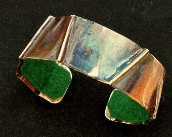 Fold formed copper cuff, colorful copper bracelet