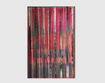Large 120*80 Vertical Abstract Painting, Original Artwork, Red Wall Decor,  Still Life Hand Made Art, Zhanna Ozolina