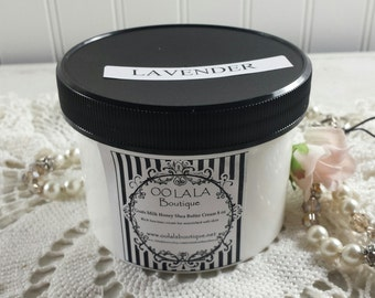 Lavender Luscious Thick Goats Milk Honey Shea Butter Cream Lotion