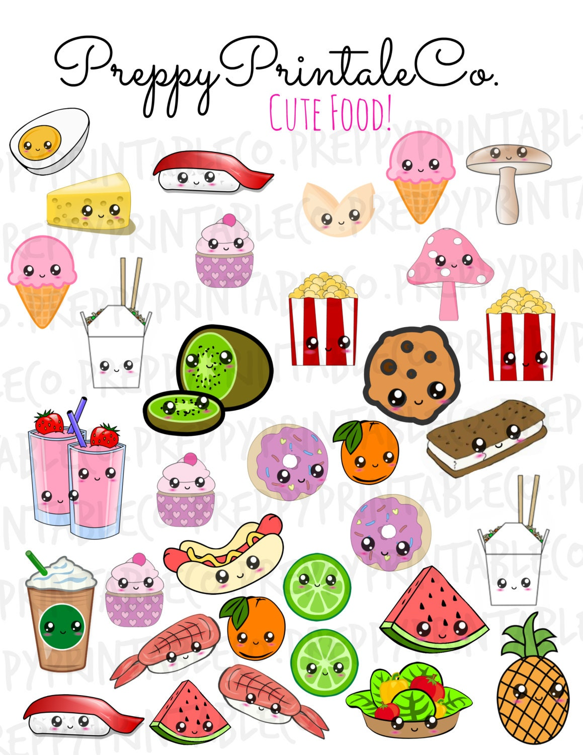 Kawaii cute food stickers printable pdf perfect for erin - Stylish cooking ...