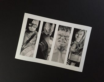 The Avengers, Captain America, Iron Man, Hulk, Thor,  authentic print of original artwork by Lee Bourke