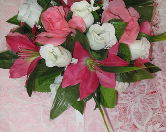 Wedding Bouquet -  Pink and White - Silk Roses and Lilies - Bridal Bouquet - Silk Flowers - Wedding Flowers - Bridesmaid Bouquet