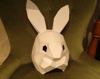 PDF Pattern, Make your own Rabbit mask, bunny mask, paper animal mask, Printable mask, DIY card mask