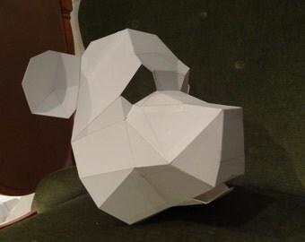 PDF Pattern, DIY Halloween mask, Bear mask, panda mask, 3D mask, animal mask