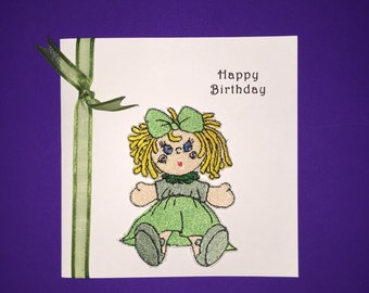 Dolly Embroidered Birthday Card