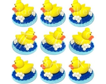 3D Fondant Edible Yellow Duck w/ Bubbles Cupcake Toppers - 12 pack