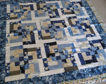Japanese Blue Quilted Throw