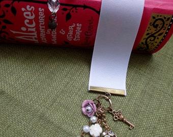 Ribbon bookmark with jewel dangles