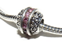 Charm Silver Plated pink crystal ball Charm fits Pandora bracelet (925, Sterling silver, bead, pendant, chamilia) S5