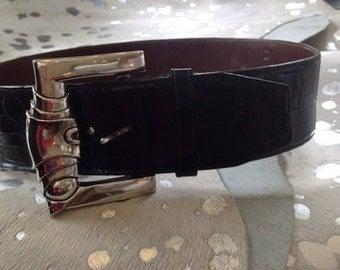 Kieselstein Cord vintage alligator belt with sterling silver belt buckle