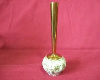 Bud Vase Delftware brass and ceramic w. bomas- leersum