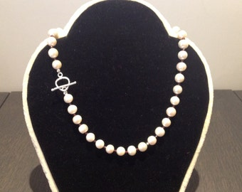 Large cultured pearl and rhodolite garnet necklace
