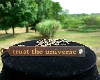 Brass tag necklace with Swarovski crystal