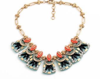 Pink Statement Necklace Bib