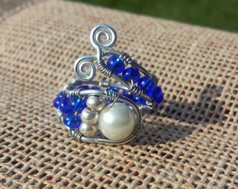 Pearl and Royal Blue Beaded Ring