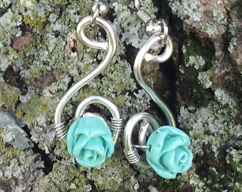 Silver Earrings with Mint Rose