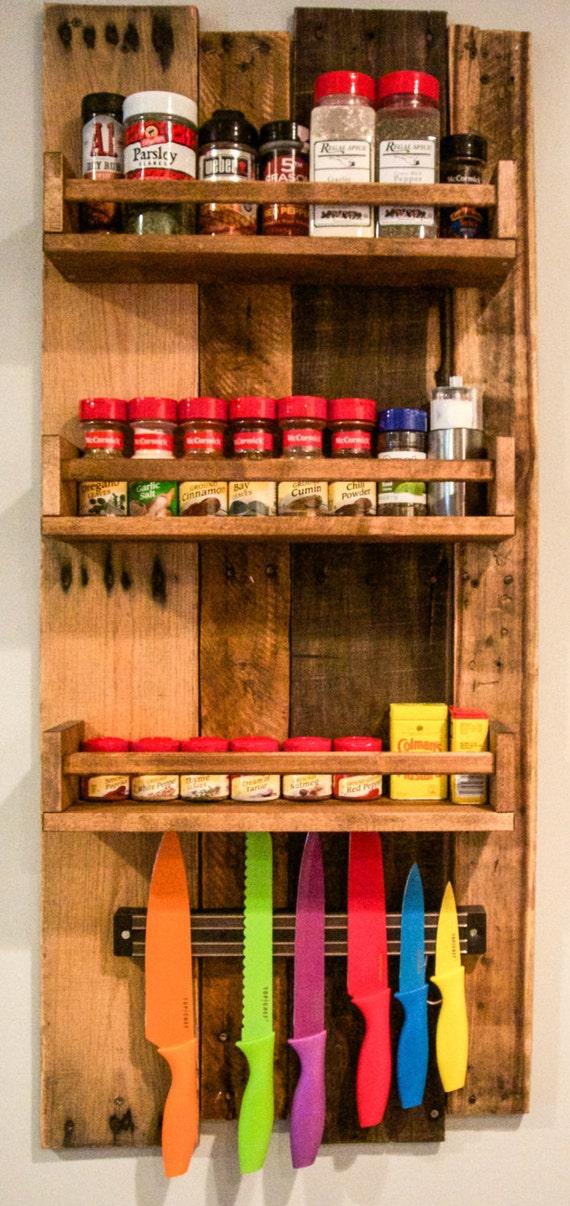 Rustic wooden spice rack