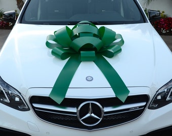 """Green Car Bow With Magnetic Base Water Resistant Bow Extra Large Bow Gift Bow Bows For Cars Large Car Bow Giant Bow Gigantic Bow 30"""" Bow"""