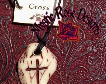 Primitive Cross, bone chip style pendant