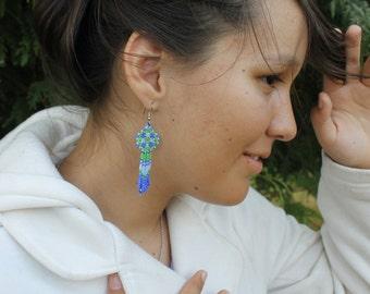 Blue and Green Beaded Dangle Flower Earrings