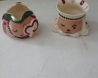 Cleminsons King and Queen sugar and creamer set