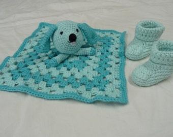 Baby Security Blanket, 100% Cotton Security Blanket, Handmde Security Blanket, Baby Booties, Cotton Baby Booties, Blue Booties