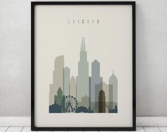 Chicago print, Poster, Wall art, Illinois, Chicago skyline, City poster, Typography art, Gift, Home Decor Digital Print, ArtPrintsVicky.