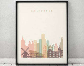 Amsterdam print, Poster, Wall art, Holland Amsterdam skyline, City poster, Netherlands art, Gift Home Decor, fine art prints, ArtPrintsVicky