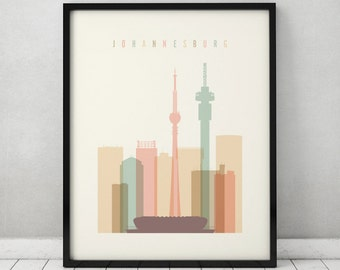 Johannesburg print, Poster, Wall art, South Africa, Johannesburg skyline, City print, Travel poster, Home decor, Gift, ArtPrintsVicky