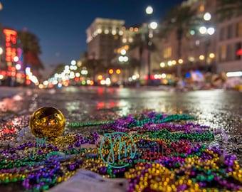 Mardis Gras, New Orleans LA, Bokeh, Beads, French Quarter Art
