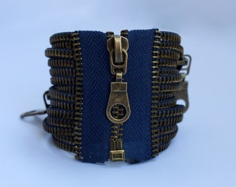 blue zipper bracelet