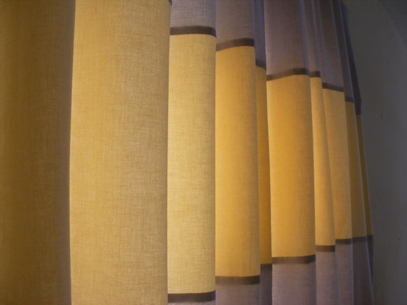 Curtain Panels Horizontal Stripe Yellow Butter and Light Grey Pair ...