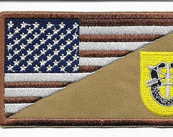 Green Beret Afghanistan & Iraq US Army 1st Special Forces Group Airborne Desert Patch
