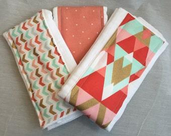 Coral Aztec and Dot burp cloths - Set of 3